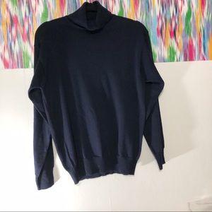 Burberry's navy blue 100% wool turtleneck